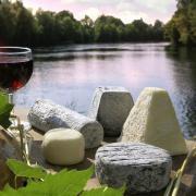 Fromages de chevre aoc et verre de vin